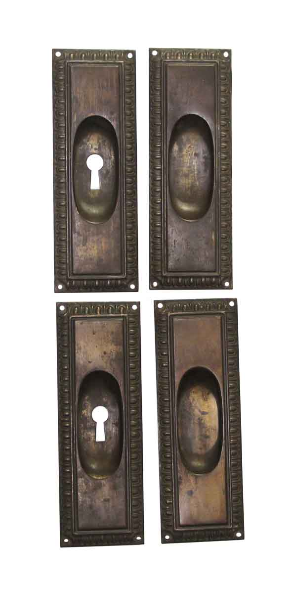 Pocket Door Hardware - Set of Traditional Brass Plated Steel Pocket Door Plates