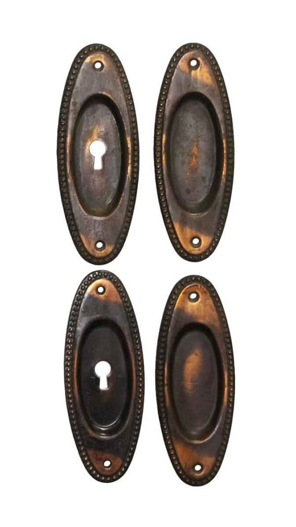 Pocket Door Hardware - Set Traditional Japanned Finish Steel Pocket Door Plates