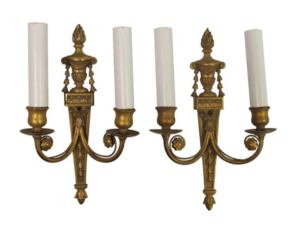 Sconces & Wall Lighting - Pair of Antique Torchier Bronze 2 Arm Wall Sconces