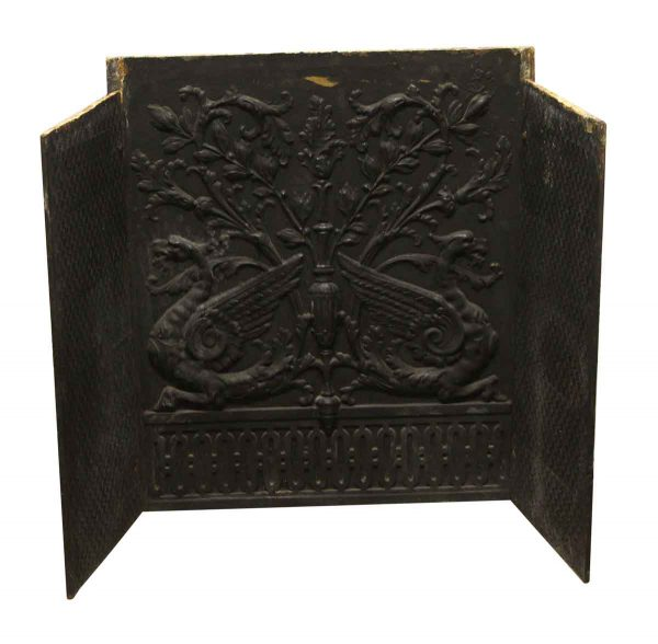 Screens & Covers - Antique Ornate Black Cast Iron Fire Back