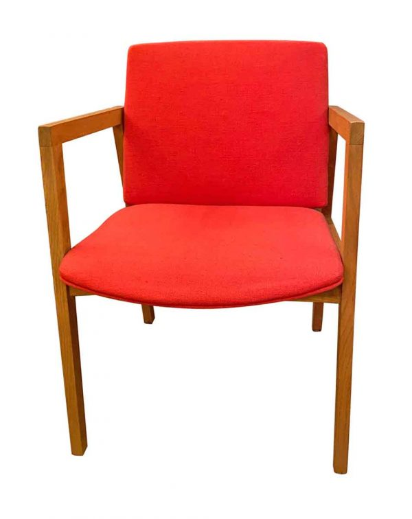 Seating - Mid Century Red Upholstered Oak Chair