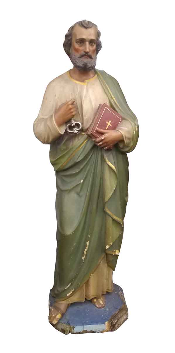 Statues & Fountains - Carved Wood Saint Peter Statue