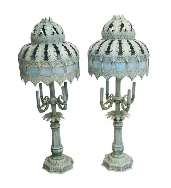 Table Lamps - Pair of French Blue Metal Lamps with Slag Glass
