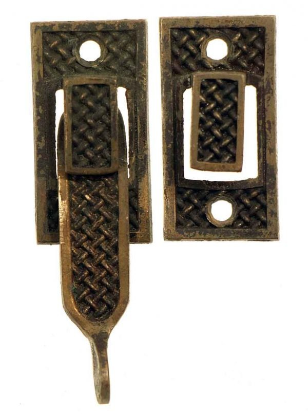 Window Hardware - Weave Pattern Traditional Bronze Shutter Latch