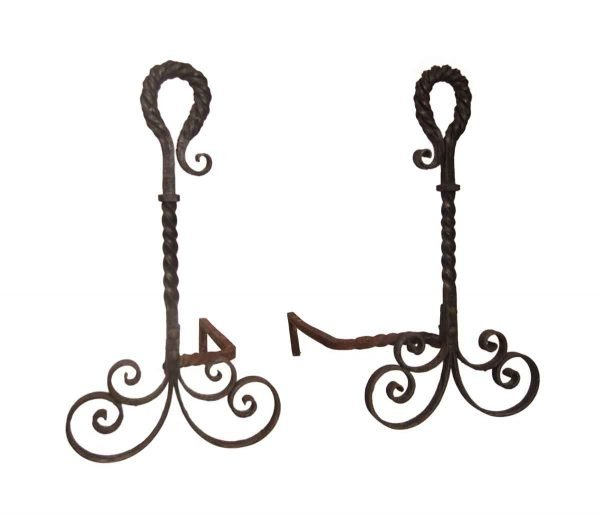 Andirons - Antique Turned Wrought Iron Pair of Andirons
