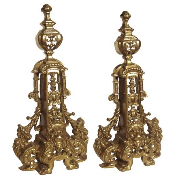 Andirons - Pair of Antique Highly Ornate Lion Brass Chenets
