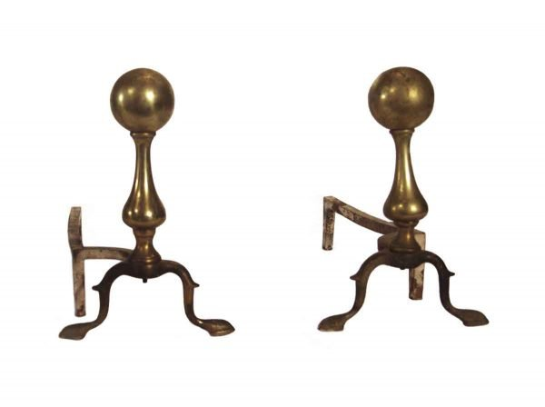 Andirons - Traditional Reclaimed Pair of Brass Andirons