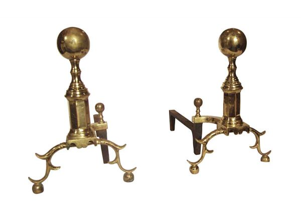 Andirons - Vintage Pair of Traditional Polished Brass Andirons