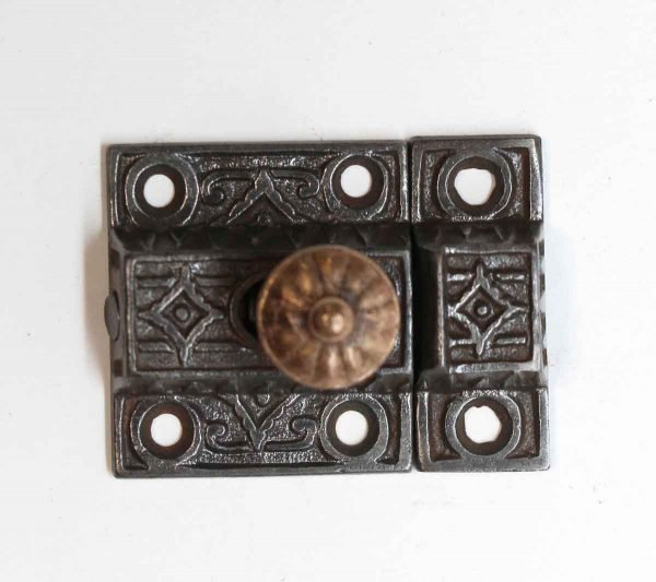 Cabinet & Furniture Latches - Antique Cast Iron Cabinet Latch with Brass Knob