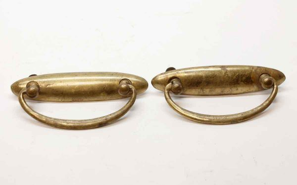 Cabinet & Furniture Pulls - Vintage Oval Back Brass Pair of Bail Pulls
