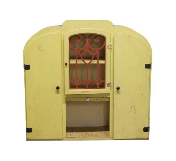 Cabinets & Bookcases - Art Deco Yellow Painted Wooden Cabinet Hutch