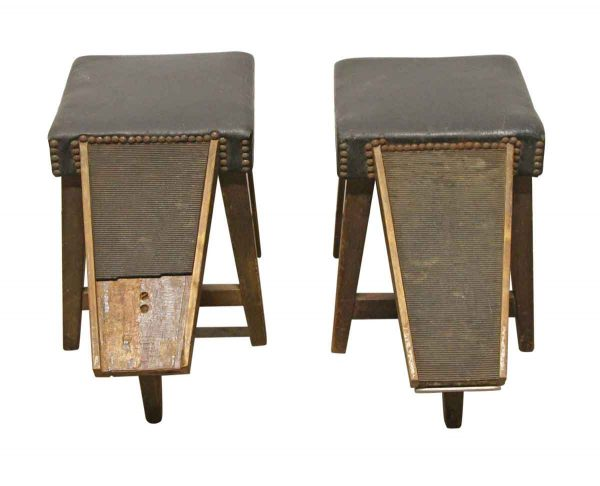 Commercial Furniture - Pair of Vintage Studded Shoe Shine Stands