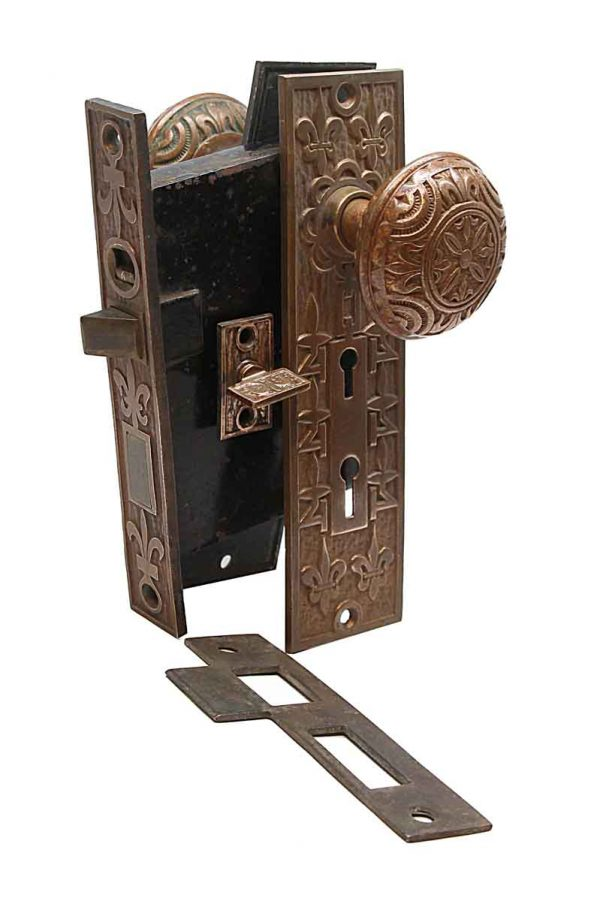 Door Knob Sets - Antique Mallory Wheeler Entry Bronze Door Knob Set