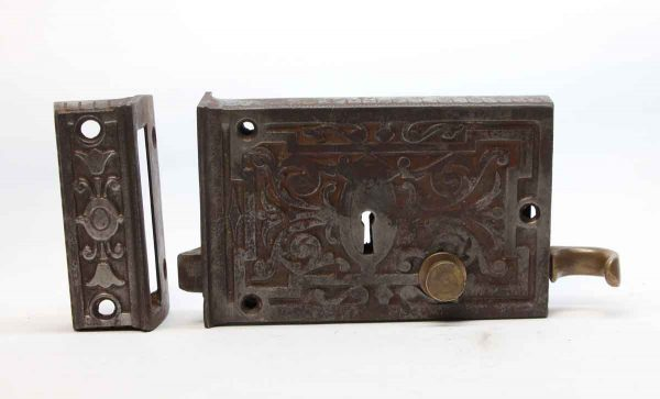 Door Locks - Antique Victorian Cast Iron Rim Lock with Pull