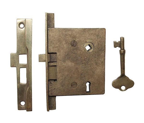 Door Locks - Rabbeted Left Hand Brass Passage Door Mortise Lock