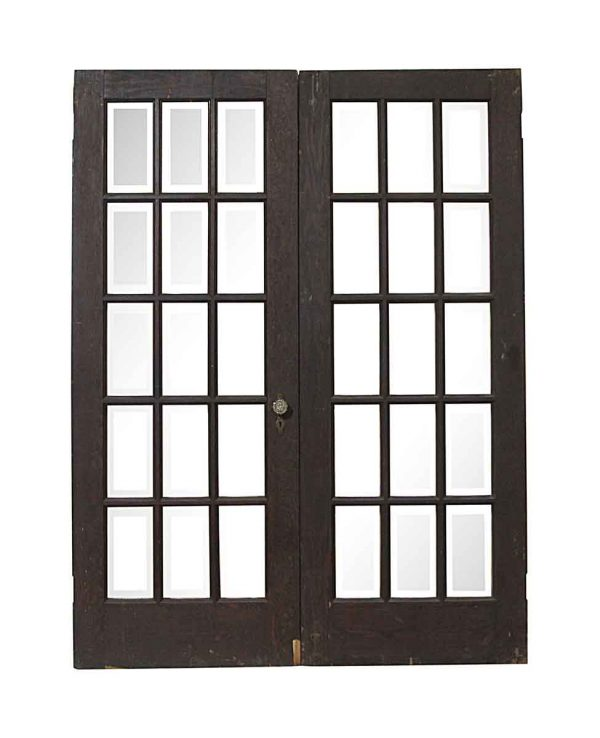 French Doors - Antique 15 Beveled Lite French Doors 79.75 x 60
