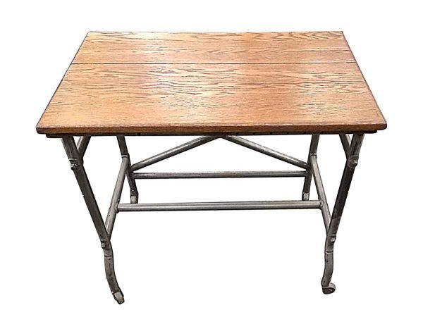 Industrial - Petite Oak Industrial Rolling Table