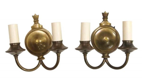 Sconces & Wall Lighting - Pair of Brass Double Arm Colonial Sconces