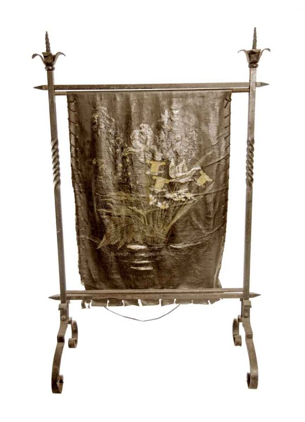 Screens & Covers - French Wrought Iron & Painted Floral Leather Fire Screen