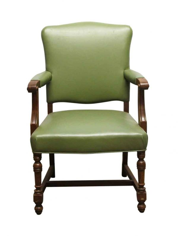 Seating - Vintage Green Vinyl Arm Chair with Wood Frame