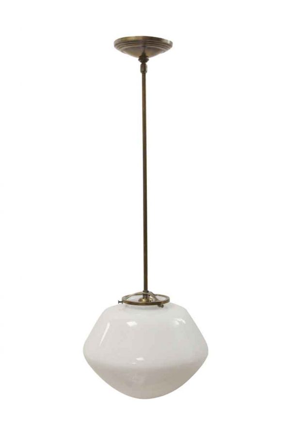 Globes - Antique 11 in. Schoolhouse Globe with Brass Pole Pendant Light