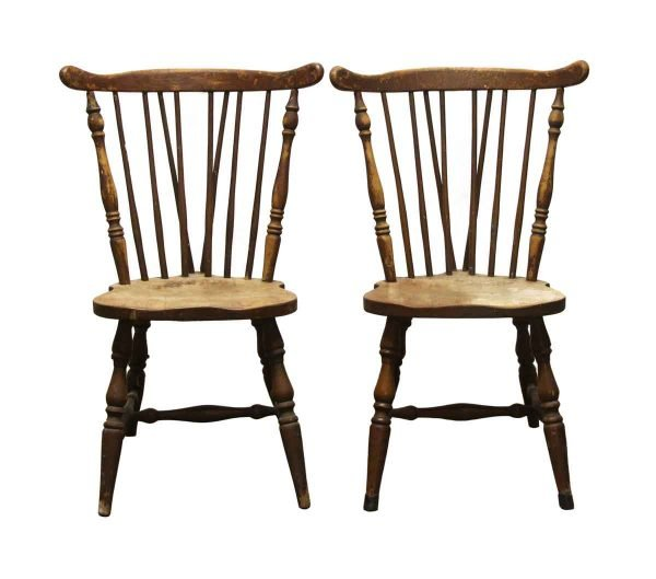 Seating - Pair of Wood Spindle Back Kitchen Dining Chairs