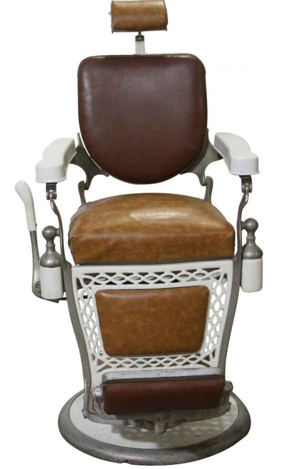 Commercial Furniture - Antique Paider Brown Leather Barber Chair