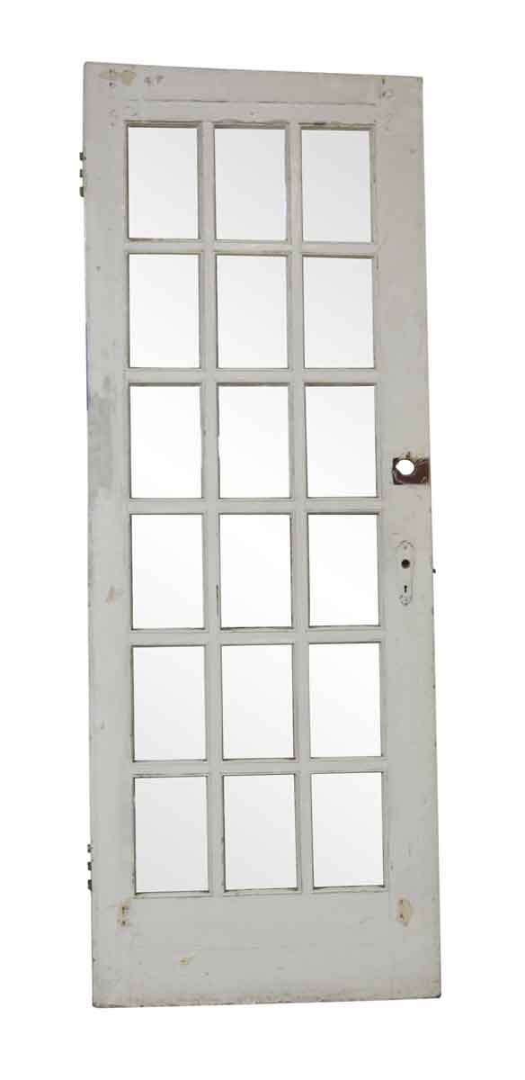 French Doors - Vintage 18 Lite White Wood French Door 88.25 x 32.5
