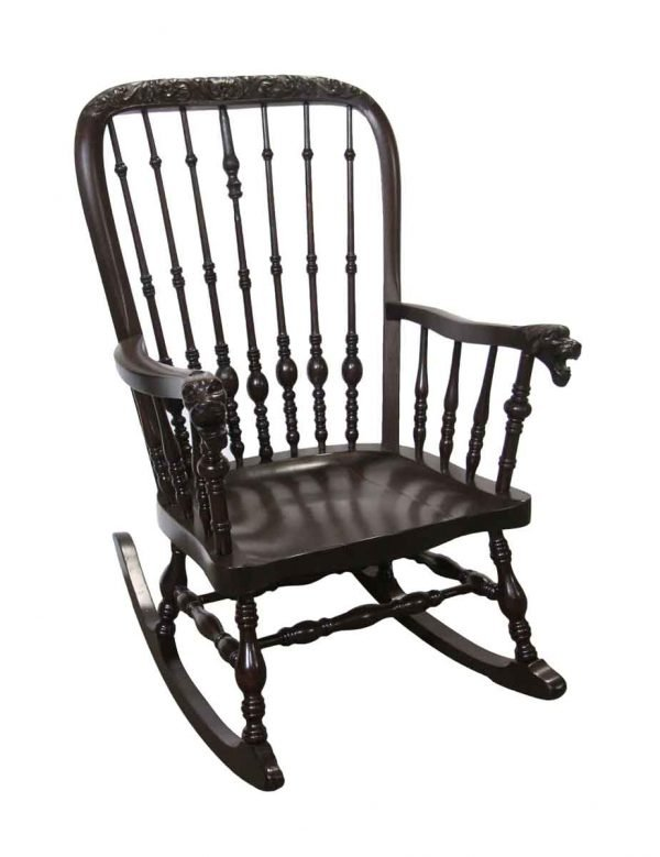 Seating - 1890 Antique Victorian Carved Oak Rocking Chair with Griffon Arms
