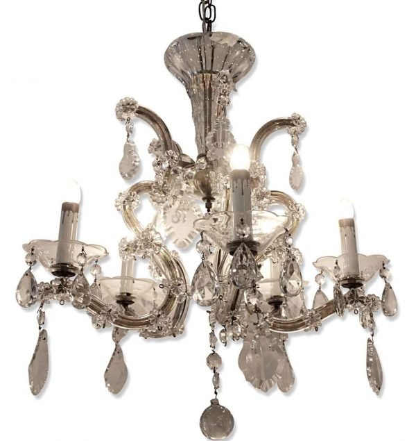 Chandeliers - Antique Petite Marie Therese 5 Arm Crystal Chandelier