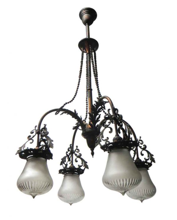Chandeliers - Copper Washed Victorian Beaded Down Light Chandelier