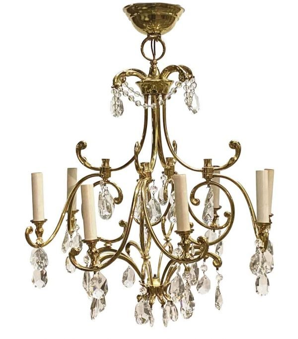Chandeliers - Waldorf French Late Century 8 Arm Brass & Crystal Chandelier