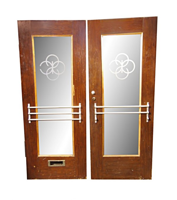 Commercial Doors - 1940s Art Deco Glass Double Oak Commercial Doors 89.5 x 71.75