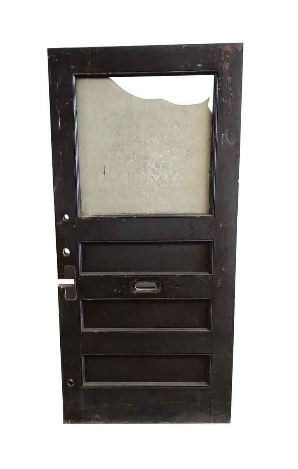 Commercial Doors - Antique 1 Lite 3 Pane Wood Office Door 83.75 x 39.75