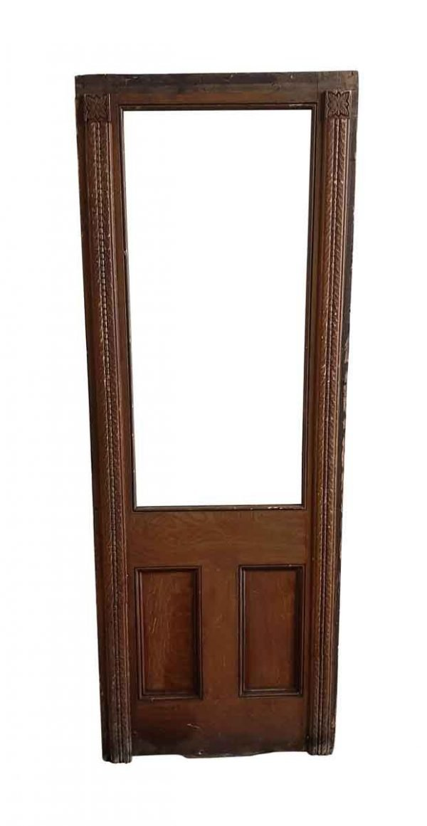 Entry Doors - Antique 1 Lite 1 Pane Oak Entry Door 82.5 x 30