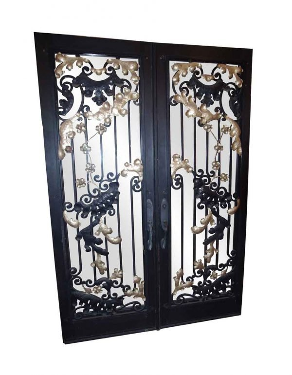 Entry Doors - Salvaged Ornate Iron Entry Double Doors 92.5 x 63.5