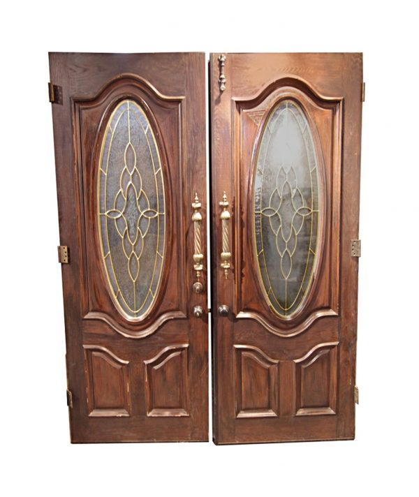 Entry Doors - Vintage Frosted Glass Lite Wood Entry Doors 95 x 71