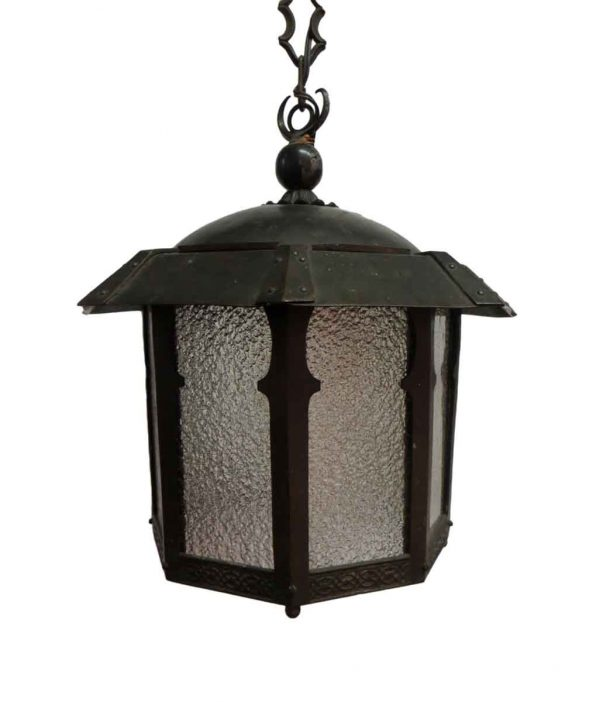Exterior Lighting - Arts & Crafts Copper Lantern with Textured Glass