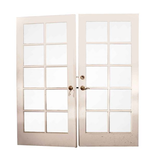 French Doors - Vintage 10 Lite Wood Double French Doors 79.25 x 72.375