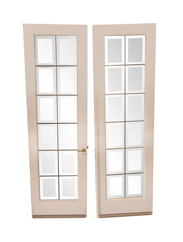 French Doors - Vintage Beveled Leaded Glass French Double Doors 88.25 x 53.75