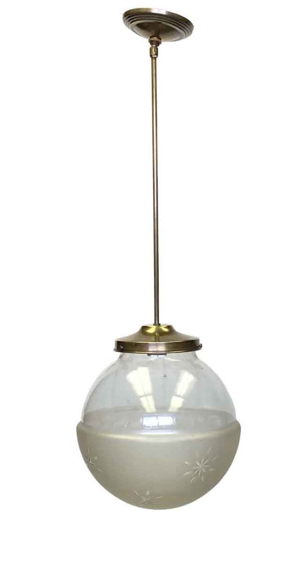 Globes - 1920s Etched Glass Globe Light with Brass Pole Fitter