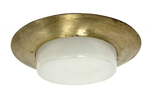 Globes & Shades - Mid Century Recessed Ceiling Light with Milk Glass Lens