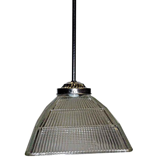 Industrial & Commercial - Antique Square Holophane Industrial Pendant Light