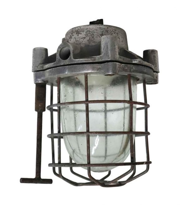Nautical Lighting - Antique Nautical Steel & Glass Ship Light with Cage & Tool