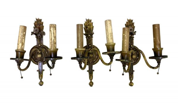 Sconces & Wall Lighting - Federal Style Hand Painted Sconces with Wheat Motif