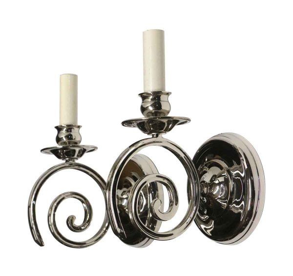 Sconces & Wall Lighting - Modern Polished Nickel Over Cast Brass Swirl Arm Sconces