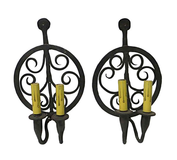 Sconces & Wall Lighting - Pair of Colonial Double Arm Wrought Iron Sconces