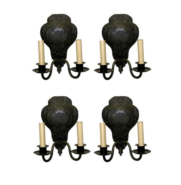 Sconces & Wall Lighting - Set of Four Hand Hammered Brass Caldwell Sconces