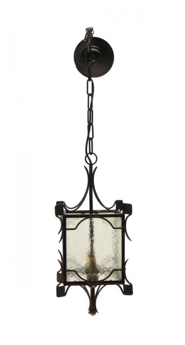Wall & Ceiling Lanterns - Simple Iron & Clear Hammered Glass Ceiling Lantern