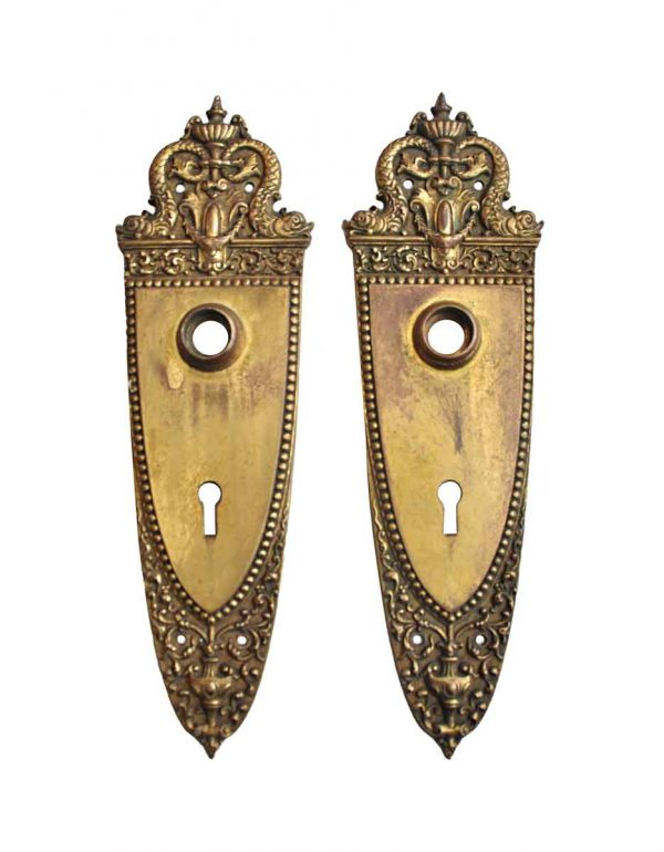 Back Plates - Pair of Victorian Sargent Brass Door Back Plates